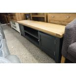 (226) Large blue painted oak top TV unit with 2 shelves and 2 single door cupboards, 180cm wide (A,