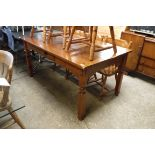 (2037) Pine rectangular dining table with single drawer
