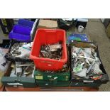 Approx. 7 trays of various door closers, hinges, other ironmongery, etc.