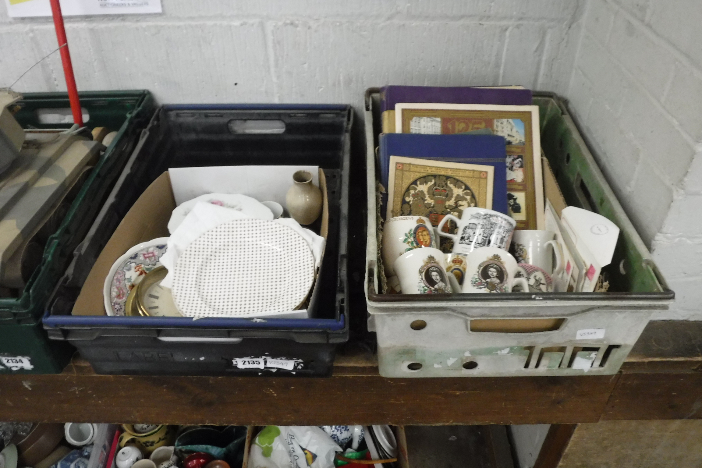 2 crates of various coronation ware and other mixed ceramics