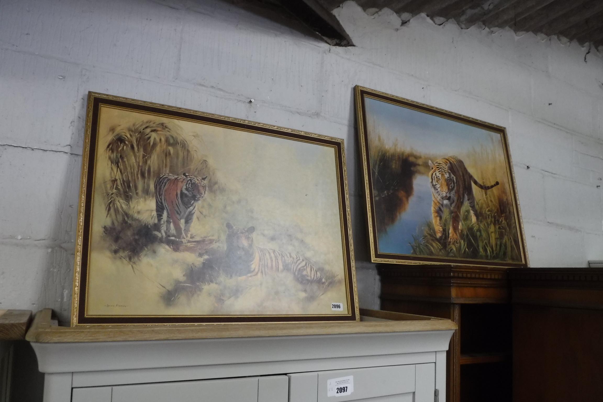 2 framed prints of tigers