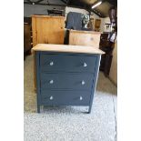 (132) Blue painted oak top chest of 3 drawers, 75cm wide (B,19)