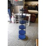 Blue metal 6 tier stand and metal candelabra