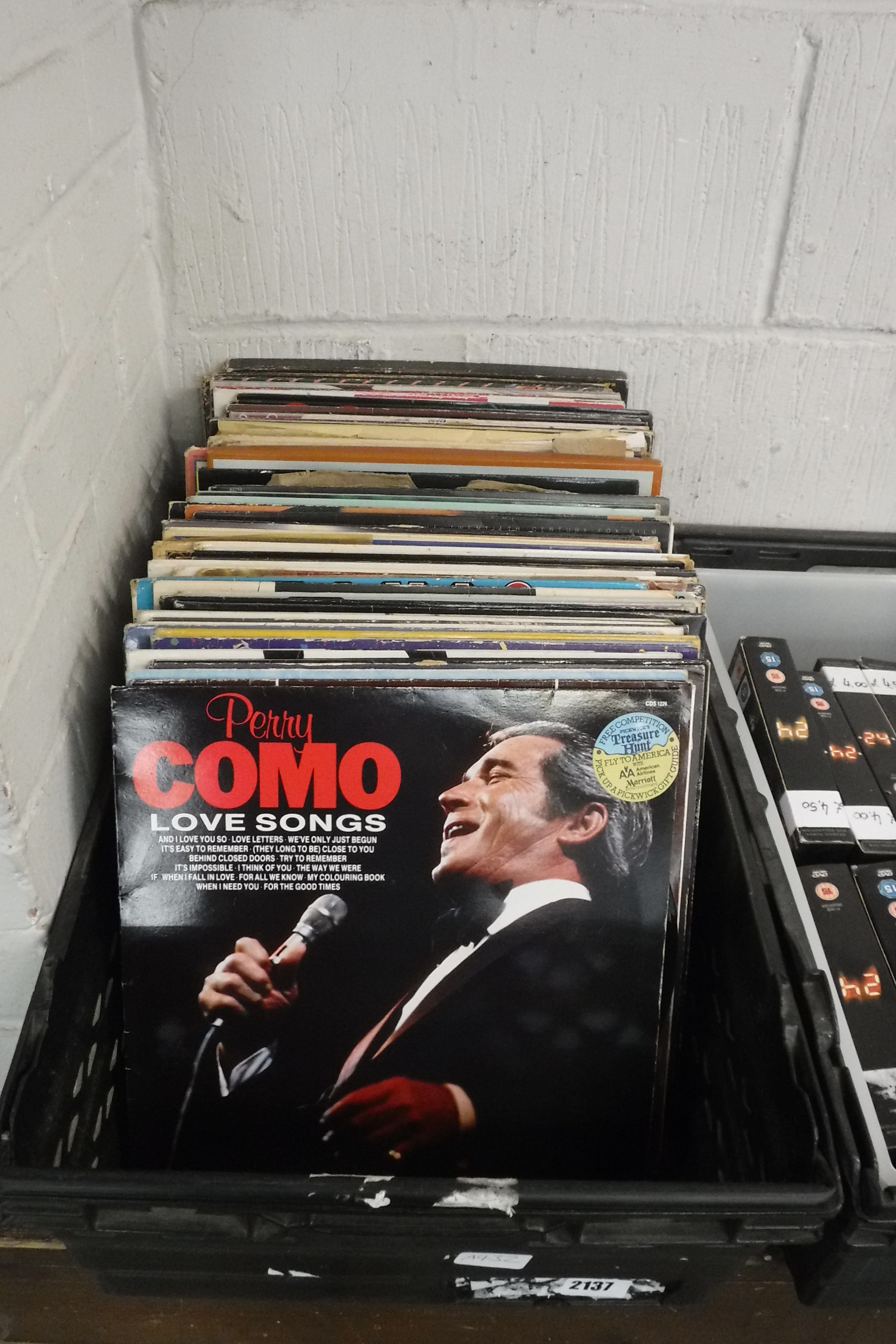 Crate of various records