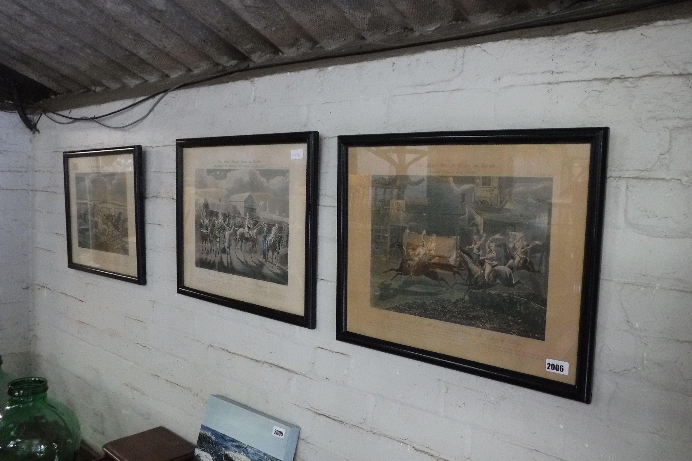 (2132) Set of 3 framed and glazed engravings of First Steeple Chase