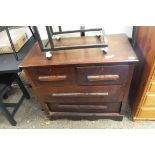 Dark wood chest of 2 over 2 drawers