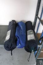 2 collapsible camping tables and large wind screen