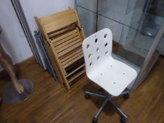 White swivel chair and 6 assorted folding chairs