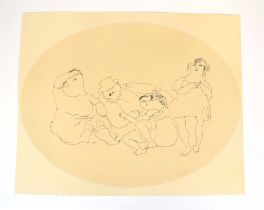 Jules Pascin (Bulgarian, 1885-1930), Figures at leisure, monochrome lithograph,