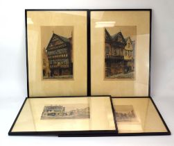 A set of four hand coloured engravings after Monk, each depicting a view of Chester, max 30.