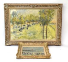Impressionist School (20th century), Figures down a bustling avenue, indistinctly signed,