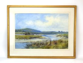Henry Hadfield Cubley (1858-1934), A flock on an estuary, signed and dated 1911, watercolour,