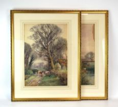 Henry Charles Fox (1855-1929), Cattle on a farmstead, signed and dated 1921, watercolour,