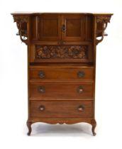 A Commercial Art Nouveau satin walnut cabinet,