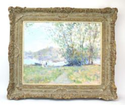 A.. Richardson (20th century), Figures by a lake, signed, oil on canvas, 40 x 49.