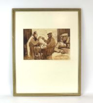 Follower of Norman Cornish, Three gentlemen at a bar, bears signature, sepia watercolour, 23.5 x 35.