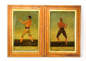 Of Boxing Interest A pair of reverse prints on glass depicting 'Dutch Sam' and Tom Cannon',