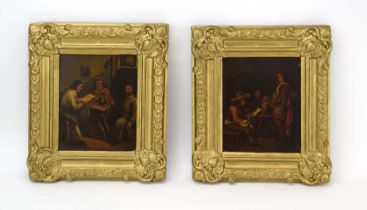 18th Century Continental School, Three figures reading a letter in a public house, unsigned,