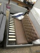 (2115) Grey faux leather single bed frame