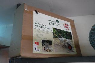 (1011) Boxed Kingfisher galvanized wheelbarrow