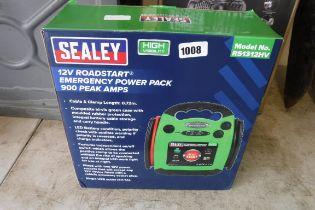 Boxed Sealey 12v emergency jump start power pack