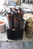 Large quantity of plastic plant trays and plant pots