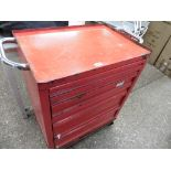 Red multi drawer tool trolley with contents of hand tools