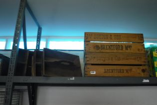 2 vintage wooden crates with 3 smaller wooden trugs