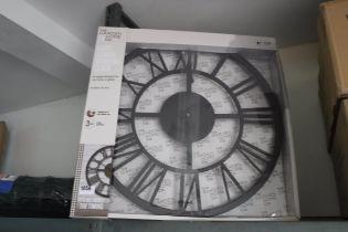 Boxed giant Roman numeral garden clock