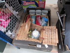 Box of asorted items to incl. collectible tins, wicker baskets, candles