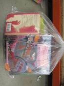 3109 Bag of assorted stitching and sewing kit, and Dan Brown books