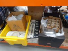 4 boxes of assorted china incl. white plates, salt and pepper pots, stainless steel serving trays,