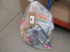 Bag of crayons, notepads, chalk etc.