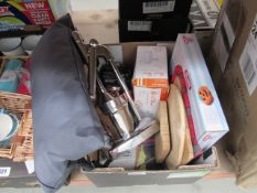 Box of assorted items to incl. juicers, milk pans, hand mixers, grey cushion etc.