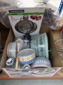 Box of assorted lidded storage jars, sieves, veg spinner, and stainless steel fruit rack