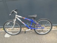 Blue and silver child's mountain bike