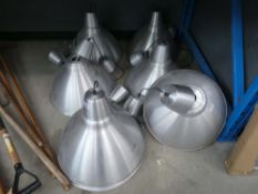 6 commercial style lights and spare shades