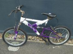 Purple and white childs suspension mountain bike