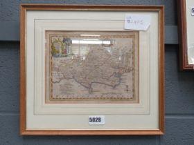 Framed and glazed map of Dorset