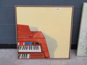 5019 - Oil on board of an electric organ
