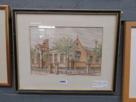 Watercolour of Bedford Modern School