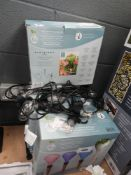 4 boxed globe sets and string lights