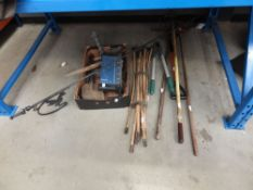 Small qty of garden tools, some drain rods, Staples guillotine, shelf brackets