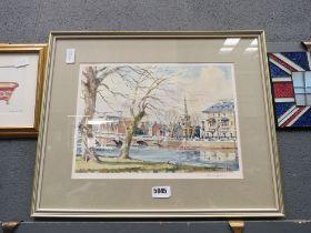 5053 David Green print of Bedford Bridge