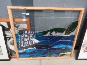 Stained glass and leaded panel, sailing ship at sea