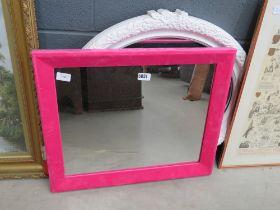 Rectangular mirror in pink frame plus an oval mirror