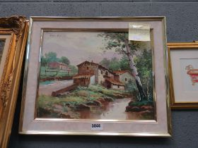 Oil on canvas; farm buildings and stream plus a print of a floral decorated bath