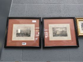 Pair of framed and glazed engravings; city scapes