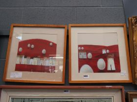 Pair of modern wall hangings; hills with buildings