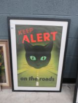 1950's Keep Alert on the Roads Warning poster